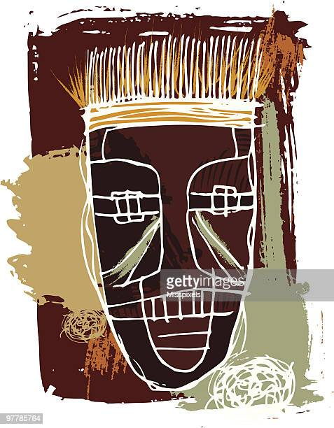 african mask - drawing artistic product stock illustrations
