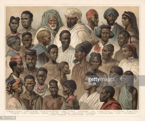 ilustraciones, imágenes clip art, dibujos animados e iconos de stock de los nativos africanos, litografía, publicado en 1897 - áfrica