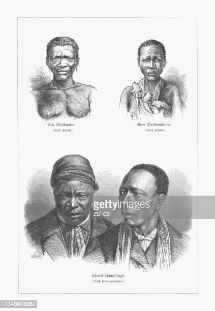illustrations, cliparts, dessins animés et icônes de peuples autochtones d'afrique: san et les chefs herero, gravures sur bois, 1897 - femme africaine