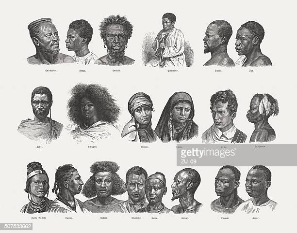 african native, wood engraving, published 1882 - ethiopia stock illustrations, clip art, cartoons, & icons