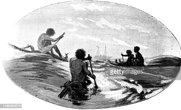 african natives are on boats sailing towards the ship - 1887 stock illustrations, clip art, cartoons, & icons
