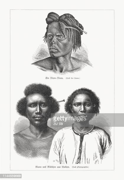 african natives: zande and nubians, wood engravings, published in 1897 - nubia stock illustrations, clip art, cartoons, & icons