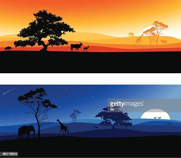 illustrations, cliparts, dessins animés et icônes de paysages d'afrique - afrique paysage