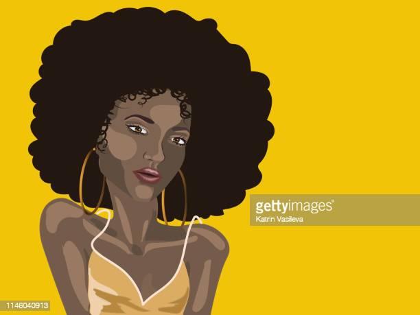 ilustraciones, imágenes clip art, dibujos animados e iconos de stock de chica de verano africana - modelo de artista
