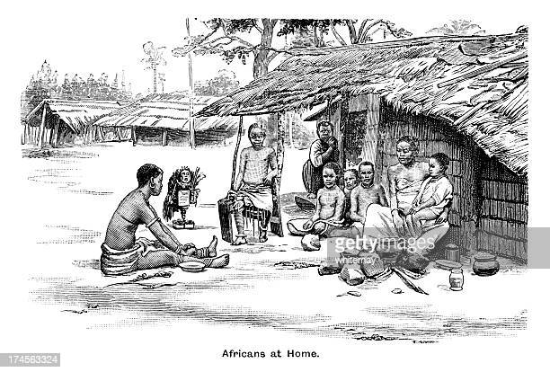 africans at home - victorian engraving - grass hut stock illustrations