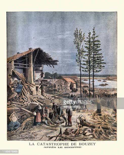 aftermath of failure of the bouzey dam, near epinal, 1895 - lorraine stock illustrations, clip art, cartoons, & icons