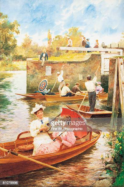 afternoon on the river - headwear stock illustrations