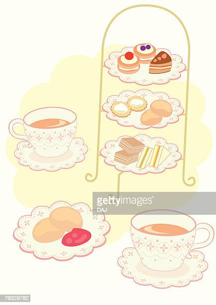 Afternoon tea, close-up, illustration