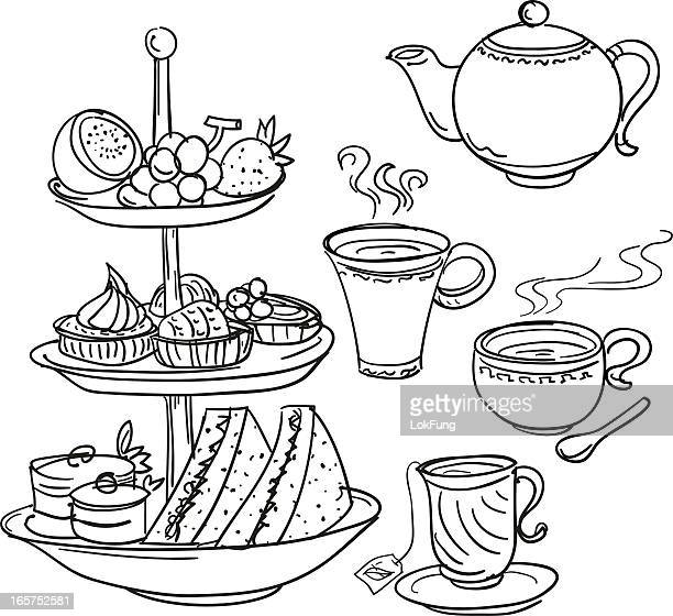 Afternoon tea set in sketch style
