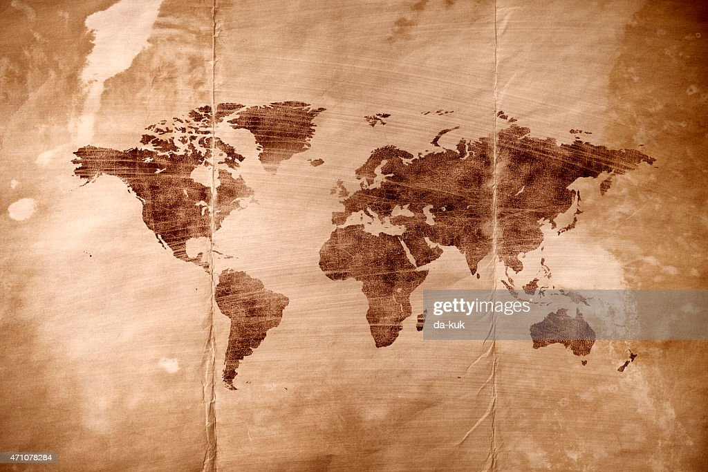 Aged world map : stock illustration
