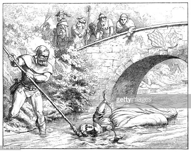 agnes bernauer ,secret consort of duke albrecht iii of bavaria; drowned as a witch in the danube at straubing on 12.10.1435. - straubing stock illustrations