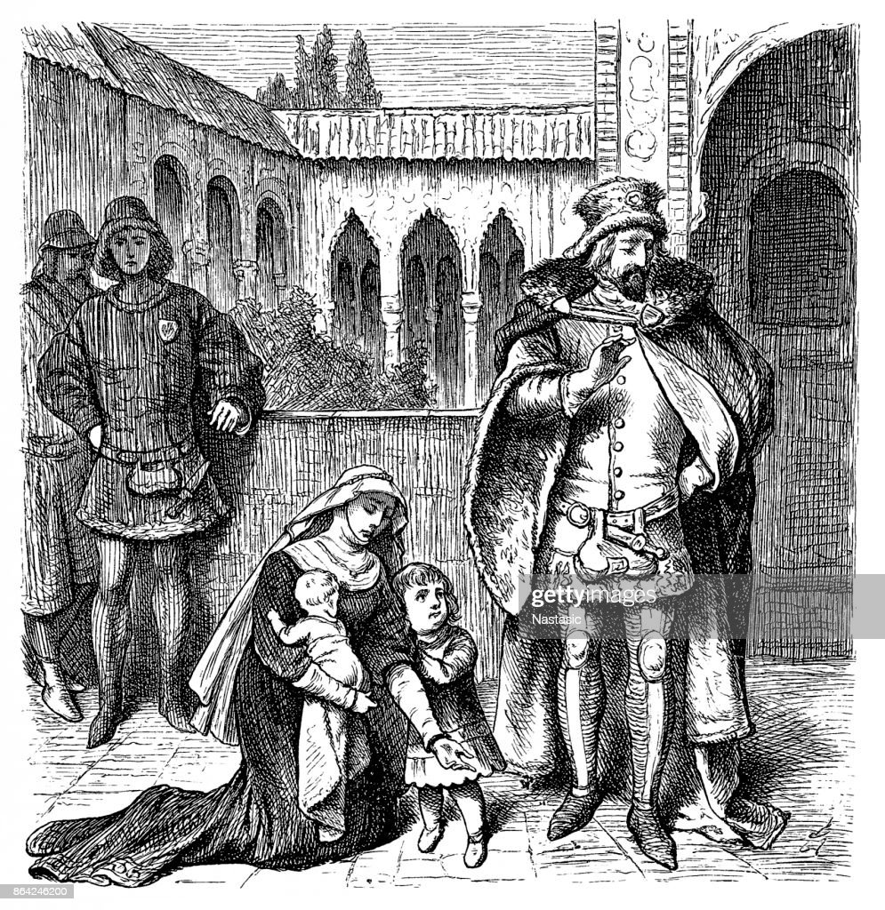 Agnes de Castro, 1325 - 1355, Queen of Portugal, kneeling in front of King Alfonso IV : stock illustration