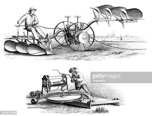 agricultural plow system powered by a cable 1865 - harrow agricultural equipment stock illustrations, clip art, cartoons, & icons