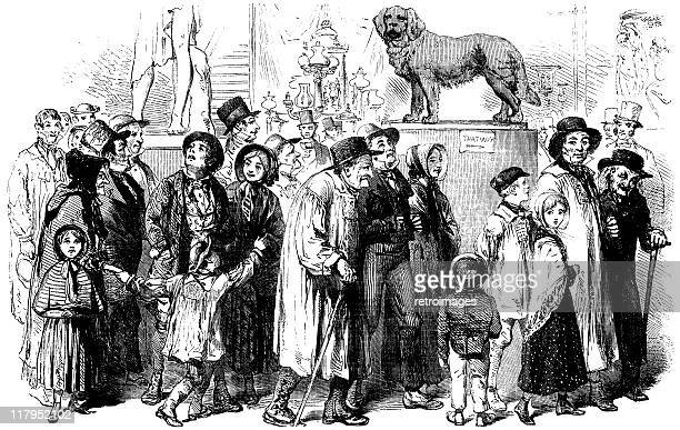 agriculturists attending the great exhibition, illustrated london news - great exhibition stock illustrations, clip art, cartoons, & icons