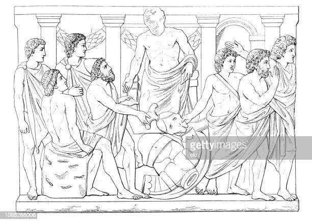 Aias and Odysseus quarrel over Achilles' weapons