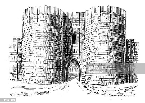ilustraciones, imágenes clip art, dibujos animados e iconos de stock de aigues-mortes las puertas de la ciudad - castillo estructura de edificio