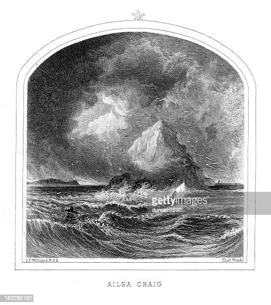 ailsa craig - clyde river stock illustrations, clip art, cartoons, & icons