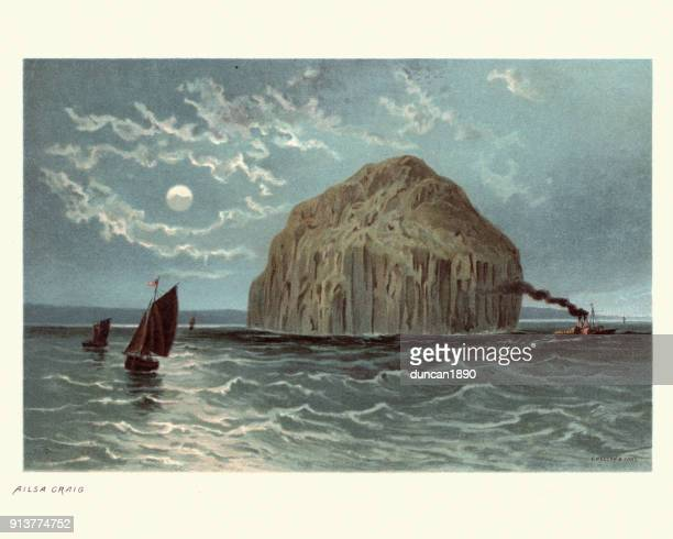 ailsa craig, scotland, 19th century - clyde river stock illustrations, clip art, cartoons, & icons