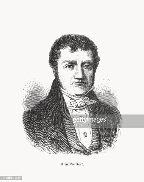 aimé bonpland (1773-1858), french explorer and botanist, woodcut, published 1893 - alexander von humboldt stock illustrations