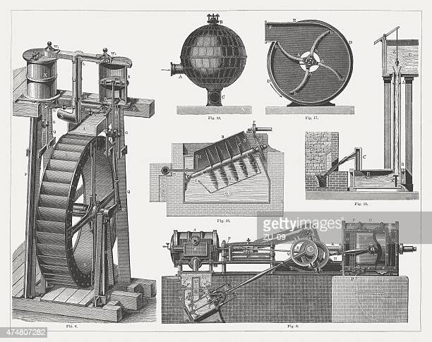 air blowers, wood engravings, published in 1876 - supercharged engine stock illustrations, clip art, cartoons, & icons
