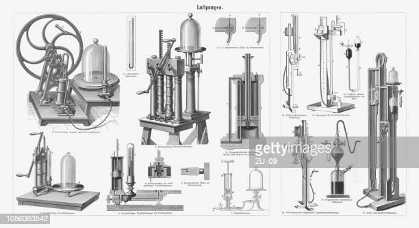 過去、木材彫刻から空気ポンプは 1897 年に公開 - 水銀点のイラスト素材/クリップアート素材/マンガ素材/アイコン素材