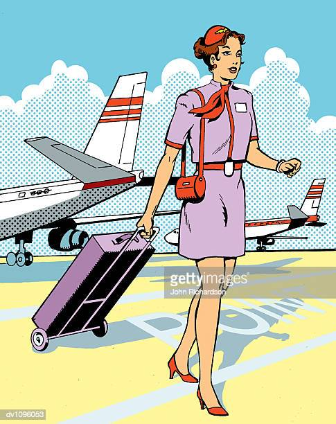 Air Stewardess Walking With Her Baggage on An Airport Runway