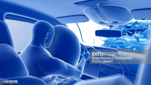 airbag deployed in car crash, illustration - graphic car accidents stock illustrations