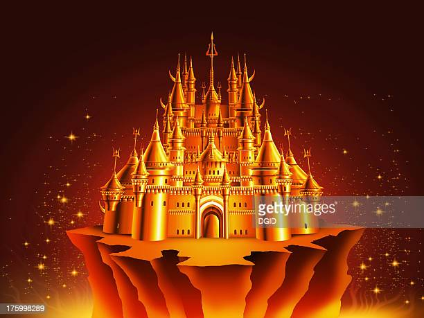 airbrush art - fairy tale fortress 2 - spire stock illustrations, clip art, cartoons, & icons
