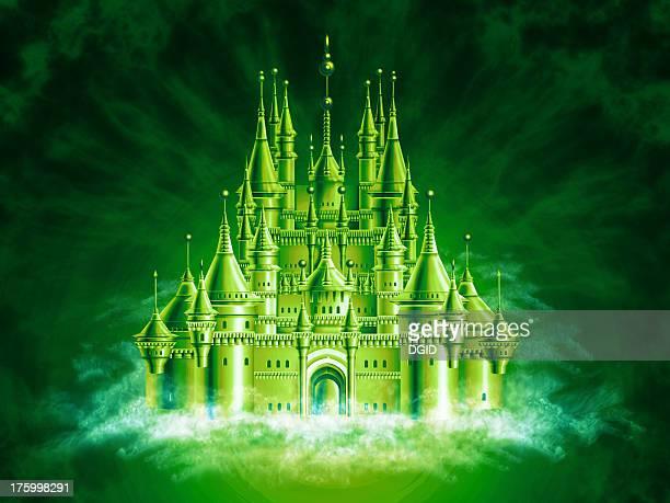 ilustrações, clipart, desenhos animados e ícones de airbrushed palácio de conto de fadas [ 3 ] - castelo