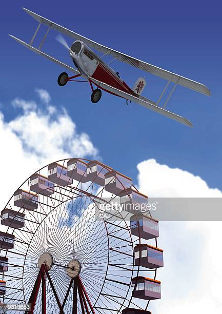 Aircraft and Ferris Wheel, CG, Illustration, Low Angle View
