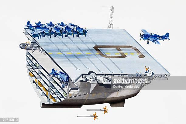 aircraft carrier landing bay - warship stock illustrations