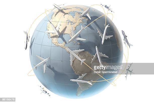 aircraft orbit a globe showing america - air pollution stock illustrations