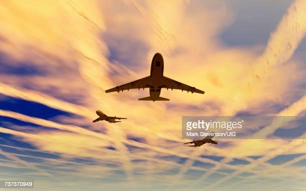 aircraft spreading chemtrails - chemtrails stock-grafiken, -clipart, -cartoons und -symbole