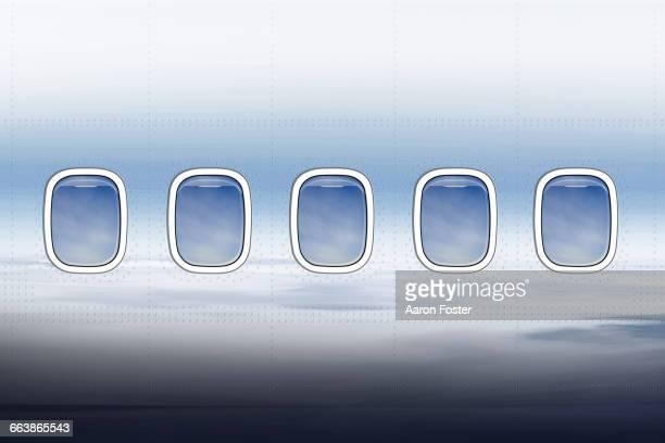 aircraft windows - shiny stock illustrations
