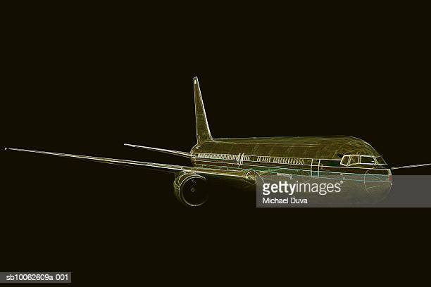 airplane against black background - digital enhancement stock illustrations