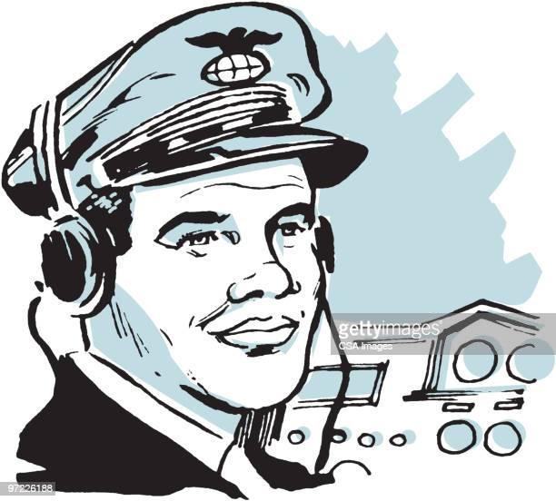airplane captain - traffic stock illustrations