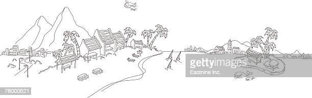 airplane flying over an island - ジンベエザメ点のイラスト素材/クリップアート素材/マンガ素材/アイコン素材