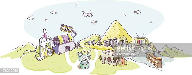 airplane flying over mountains - television aerial stock illustrations, clip art, cartoons, & icons