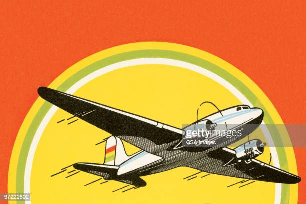 airplane - sunset stock illustrations