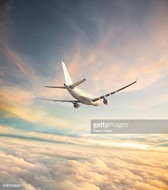 airplane in flight - fliegen stock-grafiken, -clipart, -cartoons und -symbole