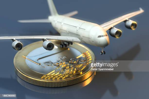 Airplane on a one euro coin
