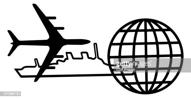 airplane, ship and globe - transportation stock illustrations