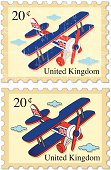 Airplane Stamps - UK