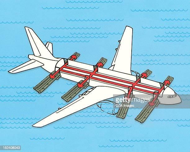 illustrations, cliparts, dessins animés et icônes de avion avec toboggans d'urgence - catastrophe aérienne
