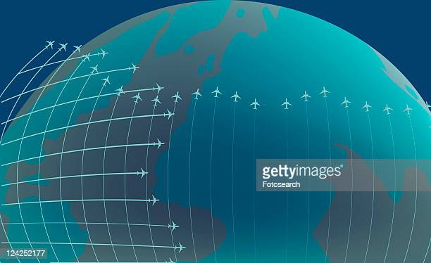 ilustraciones, imágenes clip art, dibujos animados e iconos de stock de airplanes flying around the earth - vapor trail