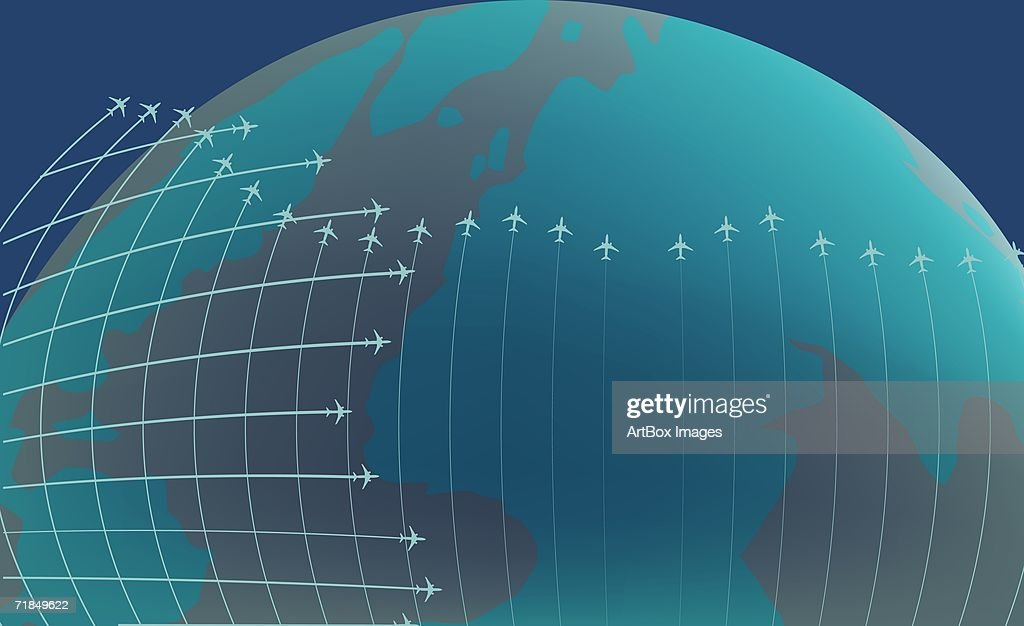 Airplanes flying around the earth : stock illustration