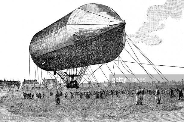Airship tied up on the airfield