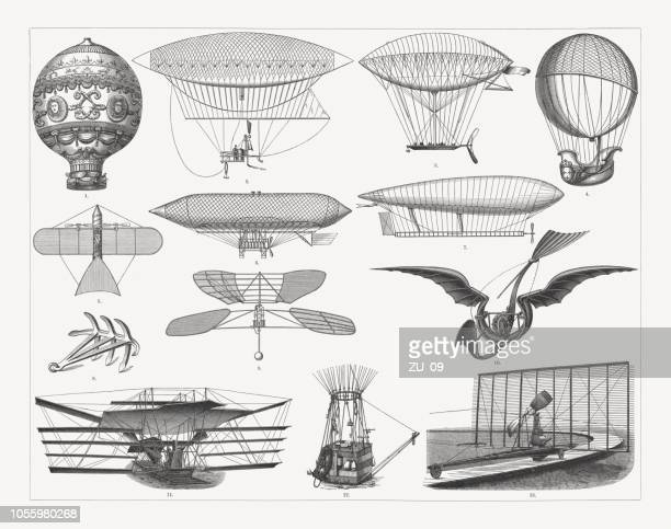 Airship travel in the past, wood engravings, published in 1897