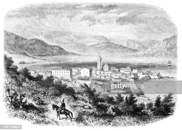 ajaccio city on french island corsica france 1851 - corsica stock illustrations, clip art, cartoons, & icons