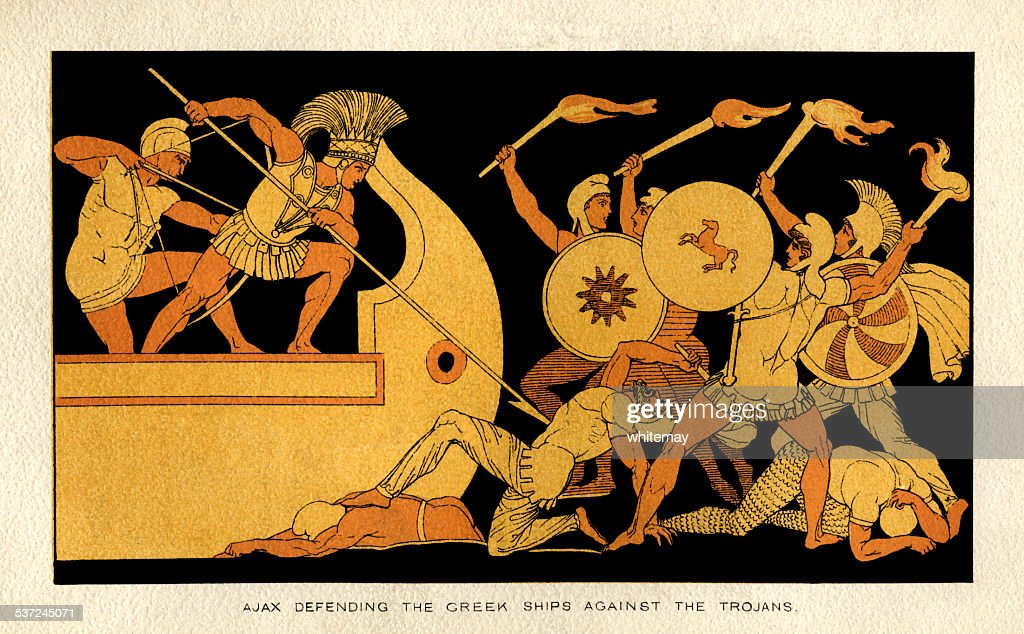 Ajax defending the Greek ships against the Trojans : Stock Illustration